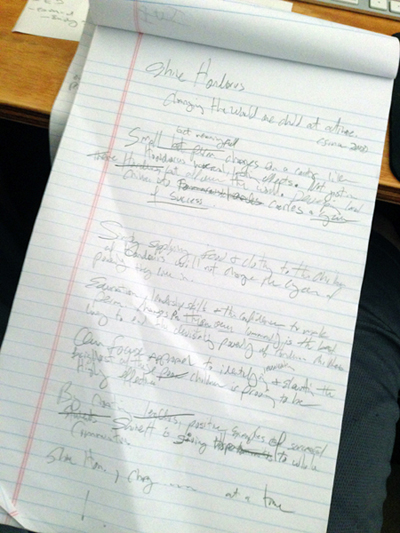 For the Shine! Honduras project, we went back to basics - pencil and paper brainstorming for a first and second draft.